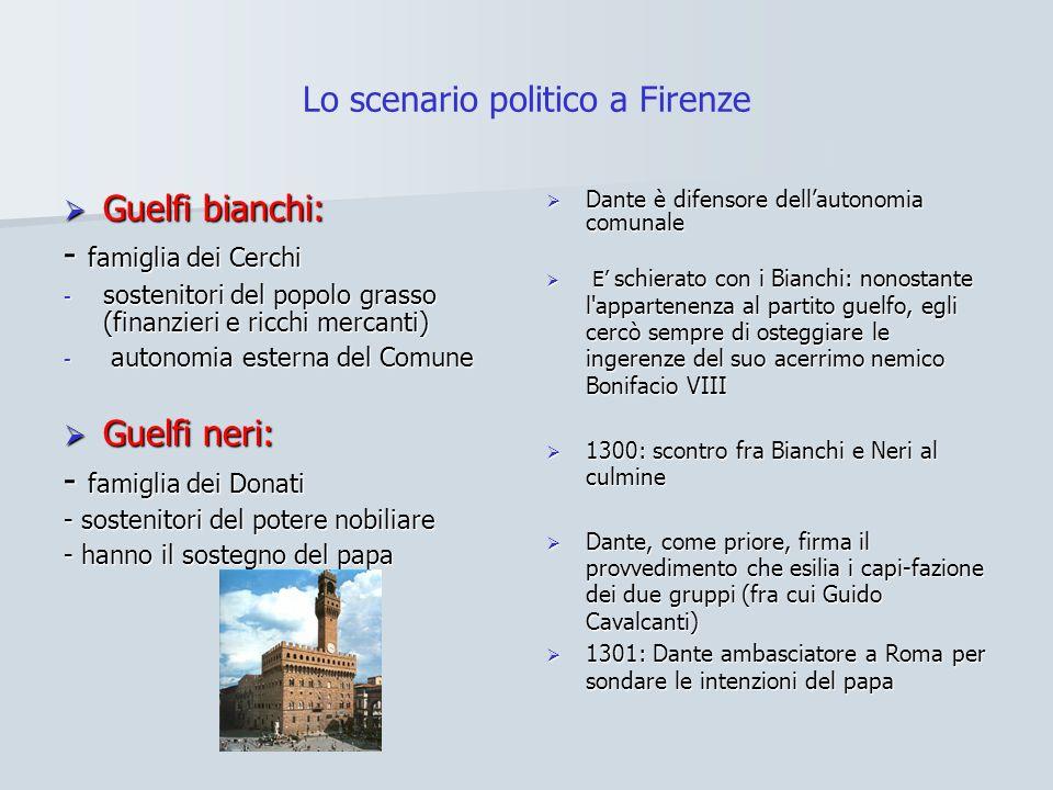 Lo scenario politico a Firenze Guelfi bianchi: Guelfi bianchi: - famiglia dei Cerchi - sostenitori del popolo grasso (finanzieri e ricchi mercanti) -
