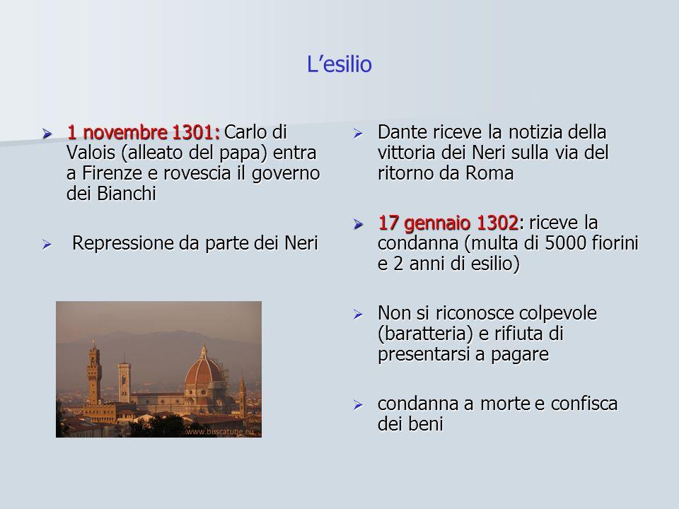 Lesilio 1 novembre 1301: Carlo di Valois (alleato del papa) entra a Firenze e rovescia il governo dei Bianchi 1 novembre 1301: Carlo di Valois (alleat