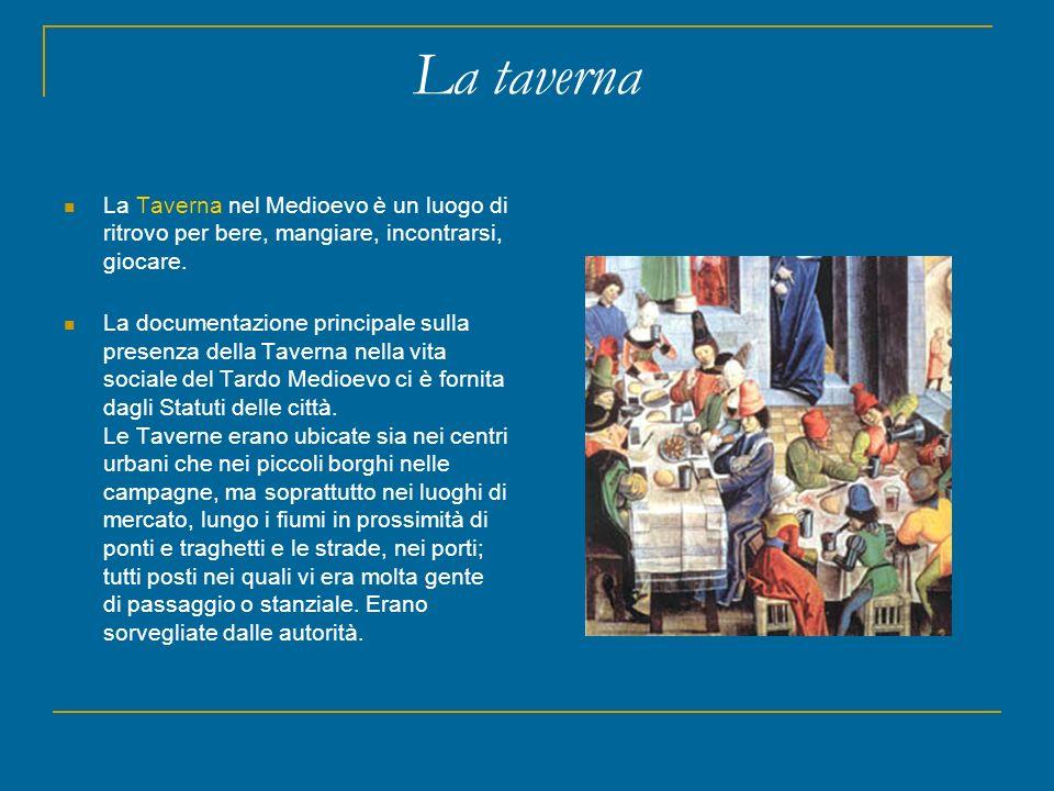 La taverna La Taverna nel Medioevo è un luogo di ritrovo per bere, mangiare, incontrarsi, giocare. La documentazione principale sulla presenza della T