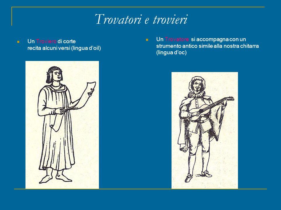 Trovatori e trovieri Un Troviero di corte recita alcuni versi (lingua doil) Un Trovatore si accompagna con un strumento antico simile alla nostra chit