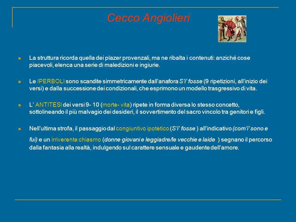 Cecco Angiolieri La struttura ricorda quella dei plazer provenzali, ma ne ribalta i contenuti: anziché cose piacevoli, elenca una serie di maledizioni