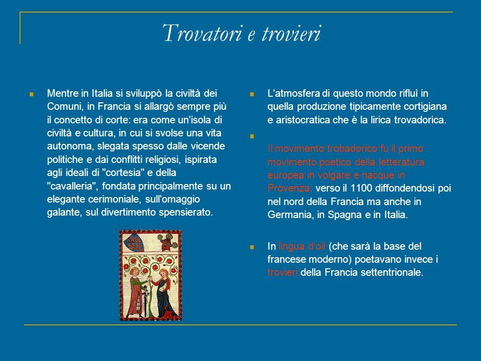 Trovatori e trovieri Mentre in Italia si sviluppò la civiltà dei Comuni, in Francia si allargò sempre più il concetto di corte: era come un'isola di c