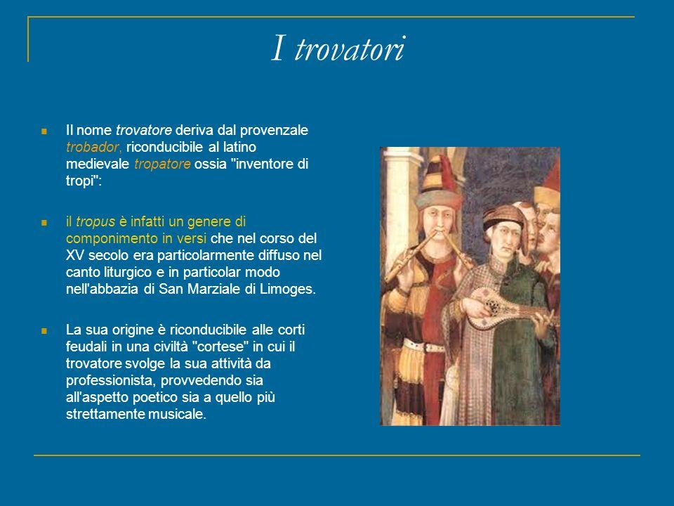 I trovatori Il nome trovatore deriva dal provenzale trobador, riconducibile al latino medievale tropatore ossia