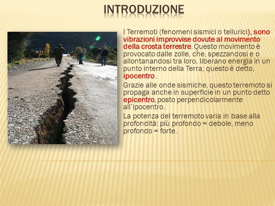 I Terremoti (fenomeni sismici o tellurici), sono vibrazioni improvvise dovute al movimento della crosta terrestre. Questo movimento è provocato dalle