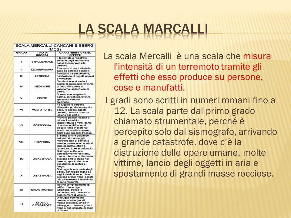 La scala Mercalli è una scala che misura l'intensità di un terremoto tramite gli effetti che esso produce su persone, cose e manufatti. I gradi sono s