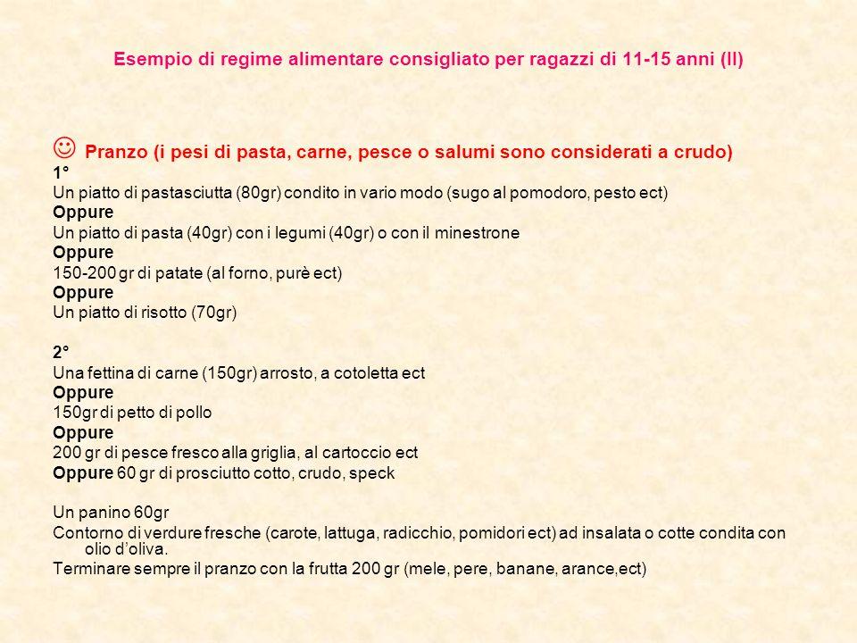 Esempio di regime alimentare consigliato per ragazzi di 11-15 anni (II) Pranzo (i pesi di pasta, carne, pesce o salumi sono considerati a crudo) 1° Un piatto di pastasciutta (80gr) condito in vario modo (sugo al pomodoro, pesto ect) Oppure Un piatto di pasta (40gr) con i legumi (40gr) o con il minestrone Oppure 150-200 gr di patate (al forno, purè ect) Oppure Un piatto di risotto (70gr) 2° Una fettina di carne (150gr) arrosto, a cotoletta ect Oppure 150gr di petto di pollo Oppure 200 gr di pesce fresco alla griglia, al cartoccio ect Oppure 60 gr di prosciutto cotto, crudo, speck Un panino 60gr Contorno di verdure fresche (carote, lattuga, radicchio, pomidori ect) ad insalata o cotte condita con olio doliva.