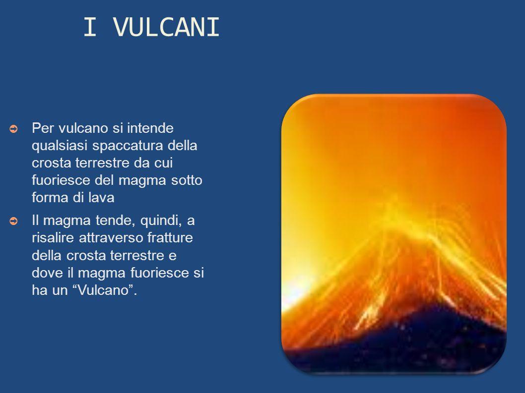 I VULCANI Per vulcano si intende qualsiasi spaccatura della crosta terrestre da cui fuoriesce del magma sotto forma di lava Il magma tende, quindi, a