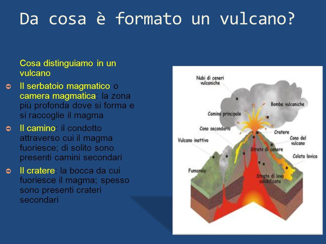 Da cosa è formato un vulcano? Cosa distinguiamo in un vulcano Il serbatoio magmatico o camera magmatica: la zona più profonda dove si forma e si racco