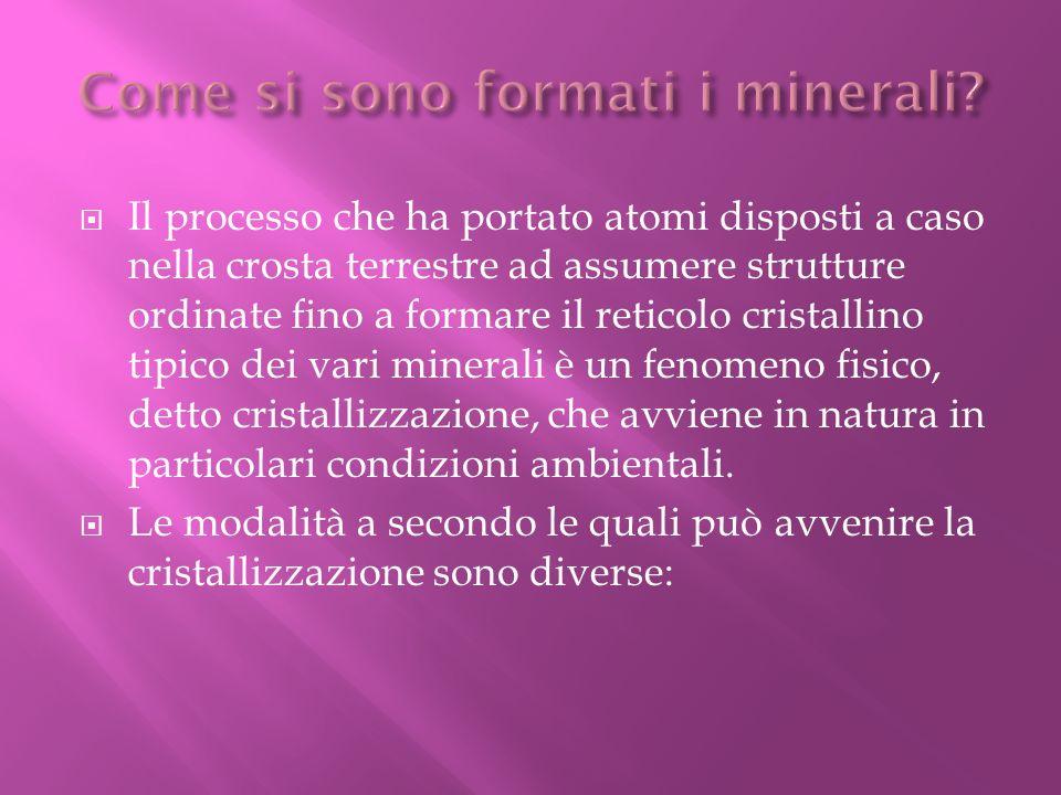 Il processo che ha portato atomi disposti a caso nella crosta terrestre ad assumere strutture ordinate fino a formare il reticolo cristallino tipico d