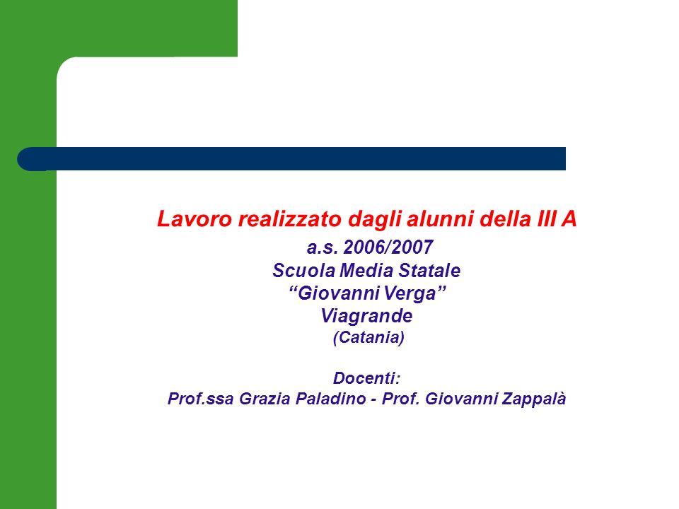 Lavoro realizzato dagli alunni della III A a.s. 2006/2007 Scuola Media Statale Giovanni Verga Viagrande (Catania) Docenti: Prof.ssa Grazia Paladino -