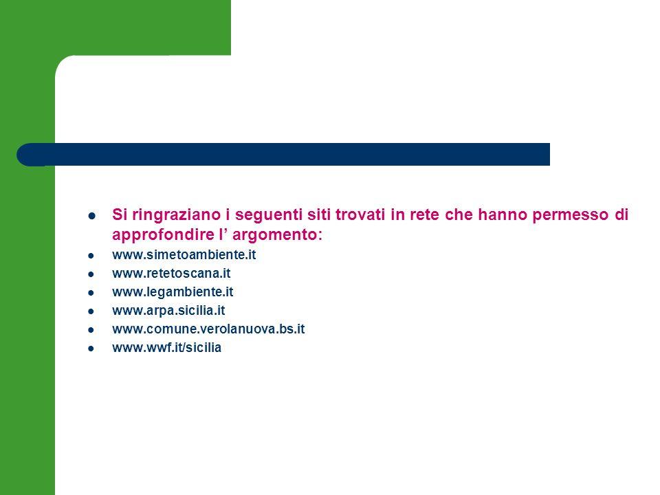 Si ringraziano i seguenti siti trovati in rete che hanno permesso di approfondire l argomento: www.simetoambiente.it www.retetoscana.it www.legambient