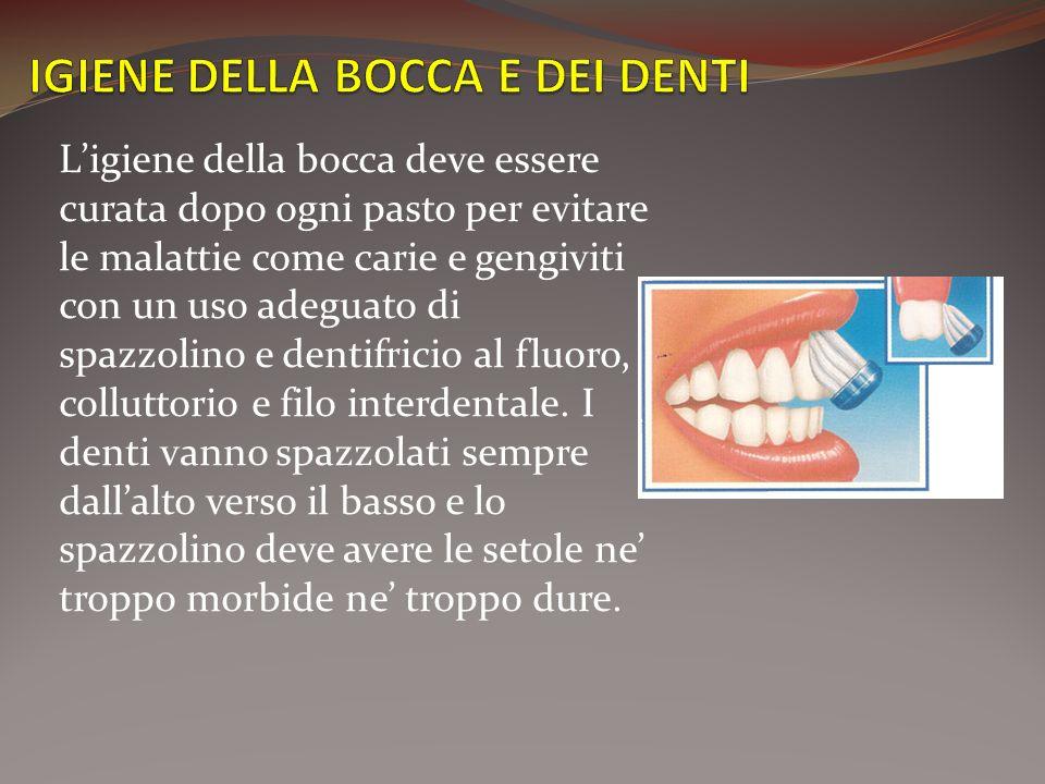 Ligiene della bocca deve essere curata dopo ogni pasto per evitare le malattie come carie e gengiviti con un uso adeguato di spazzolino e dentifricio