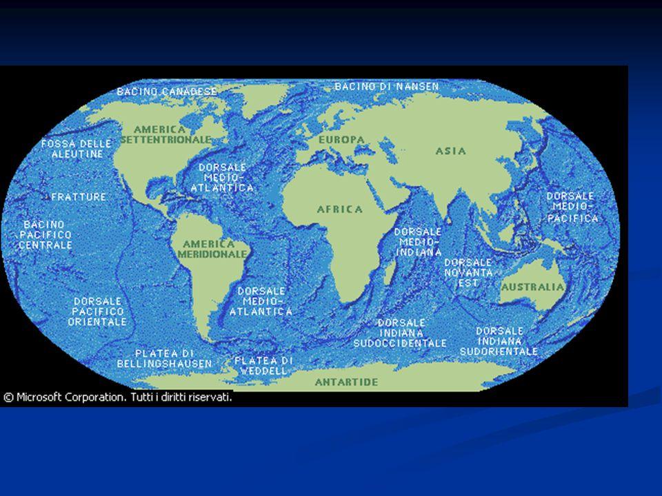 PLANISFERO DELLA CROSTA OCEANICA E CONTINENTALE