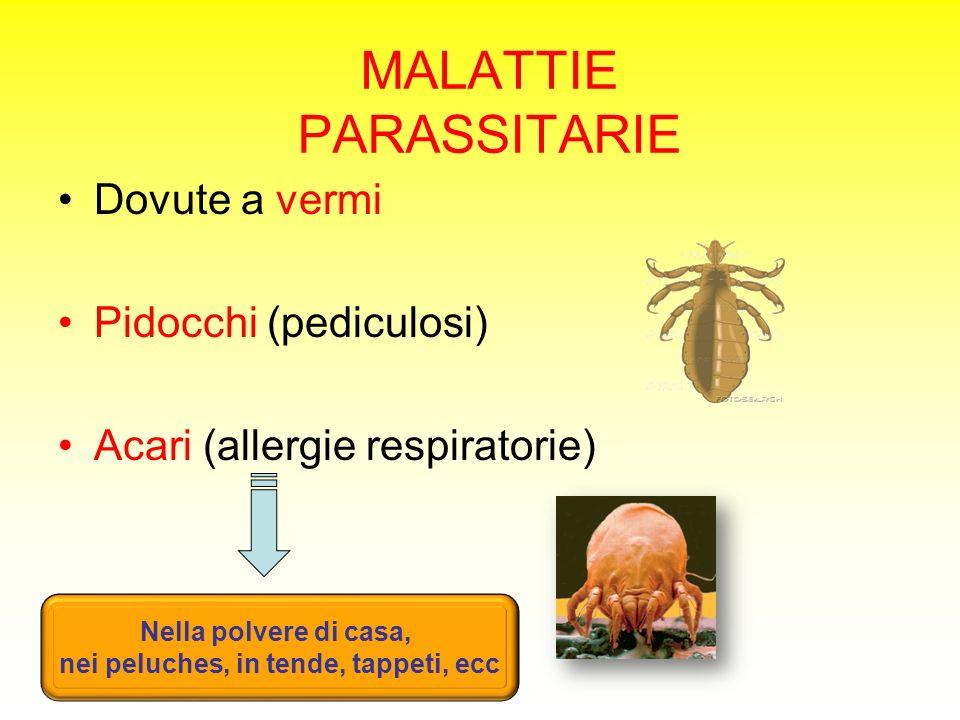 MALATTIE PARASSITARIE Dovute a vermi Pidocchi (pediculosi) Acari (allergie respiratorie) Nella polvere di casa, nei peluches, in tende, tappeti, ecc
