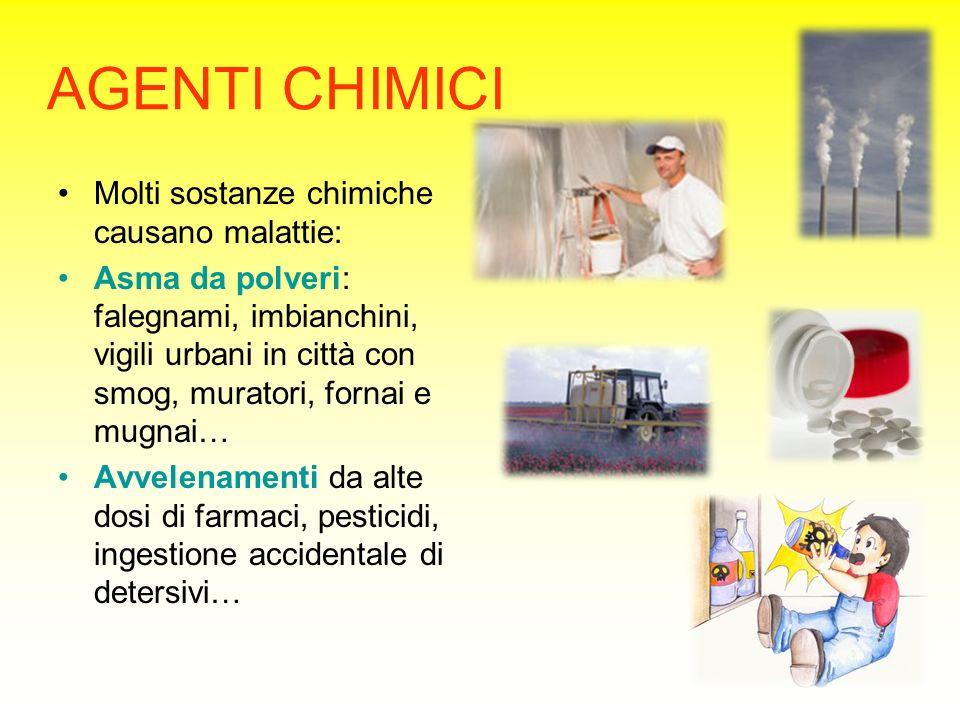 AGENTI CHIMICI Molti sostanze chimiche causano malattie: Asma da polveri: falegnami, imbianchini, vigili urbani in città con smog, muratori, fornai e