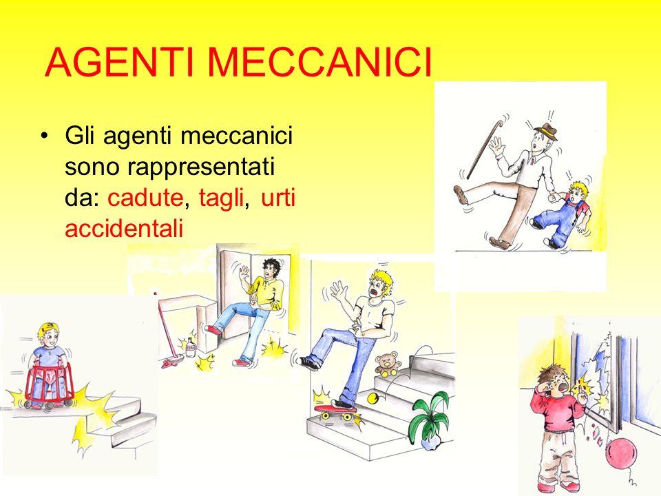 AGENTI MECCANICI Gli agenti meccanici sono rappresentati da: cadute, tagli, urti accidentali