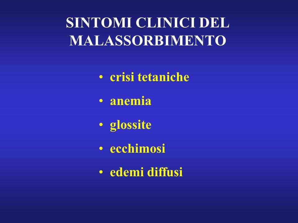 SINTOMI CLINICI DEL MALASSORBIMENTO crisi tetaniche anemia glossite ecchimosi edemi diffusi