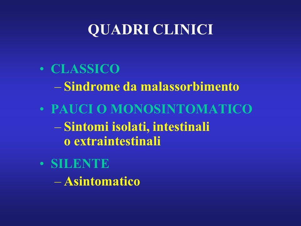 QUADRI CLINICI CLASSICO –Sindrome da malassorbimento PAUCI O MONOSINTOMATICO –Sintomi isolati, intestinali o extraintestinali SILENTE –Asintomatico