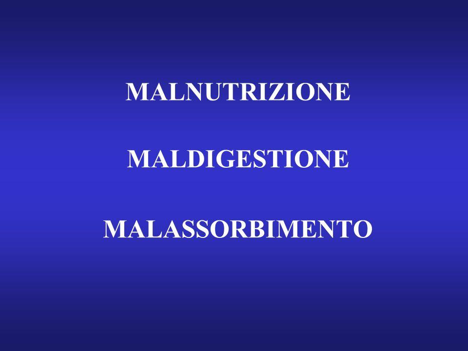 MALNUTRIZIONE MALDIGESTIONE MALASSORBIMENTO