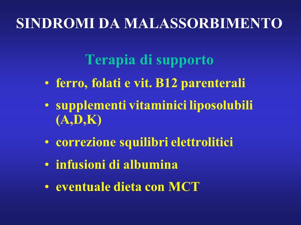 SINDROMI DA MALASSORBIMENTO Terapia di supporto ferro, folati e vit. B12 parenterali supplementi vitaminici liposolubili (A,D,K) correzione squilibri
