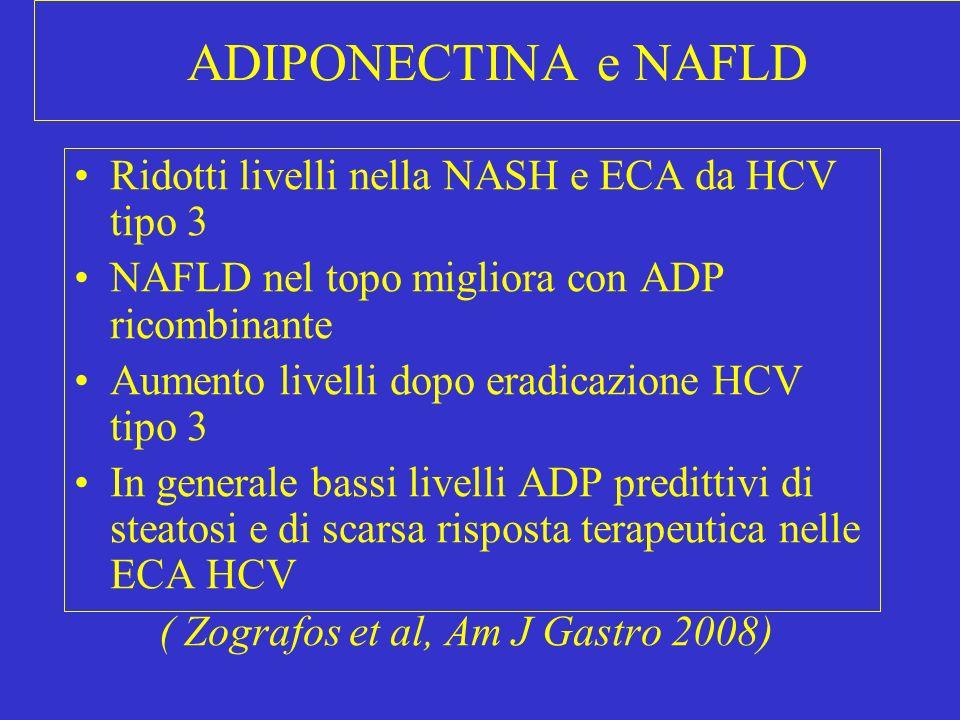 ADIPONECTINA e NAFLD Ridotti livelli nella NASH e ECA da HCV tipo 3 NAFLD nel topo migliora con ADP ricombinante Aumento livelli dopo eradicazione HCV