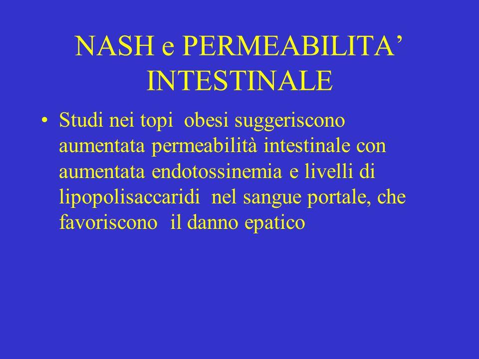NASH e PERMEABILITA INTESTINALE Studi nei topi obesi suggeriscono aumentata permeabilità intestinale con aumentata endotossinemia e livelli di lipopol