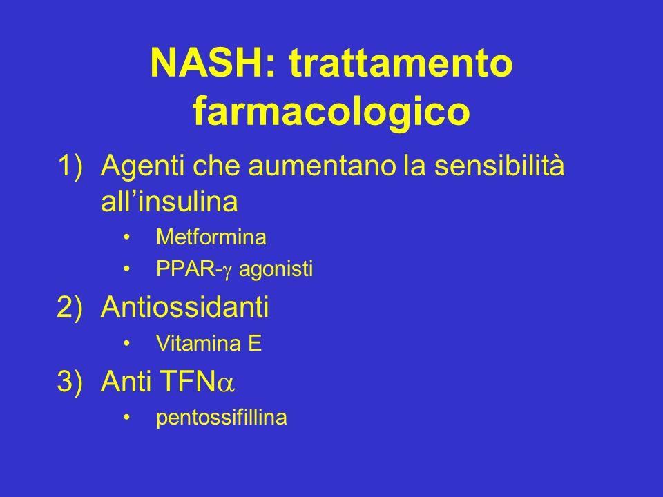 NASH: trattamento farmacologico 1)Agenti che aumentano la sensibilità allinsulina Metformina PPAR- agonisti 2)Antiossidanti Vitamina E 3)Anti TFN pent
