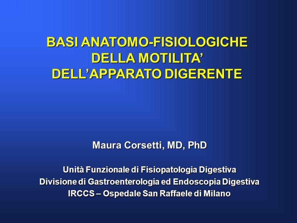BASI ANATOMO-FISIOLOGICHE DELLA MOTILITA DELLAPPARATO DIGERENTE Maura Corsetti, MD, PhD Unità Funzionale di Fisiopatologia Digestiva Divisione di Gast