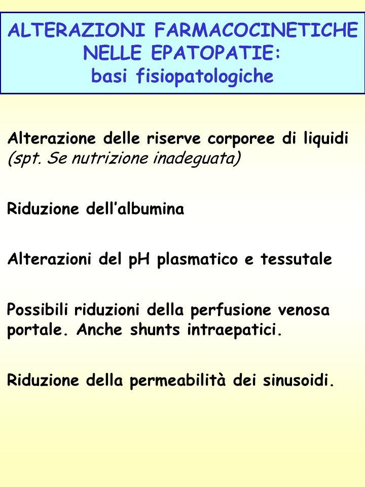 ALTERAZIONI FARMACOCINETICHE NELLE EPATOPATIE: basi fisiopatologiche Alterazione delle riserve corporee di liquidi (spt. Se nutrizione inadeguata) Rid