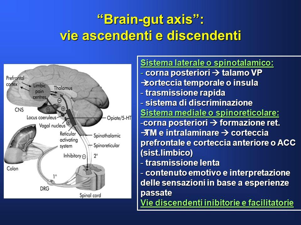 Brain-gut axis: vie ascendenti e discendenti Sistema laterale o spinotalamico: - corna posteriori talamo VP corteccia temporale o insula corteccia tem