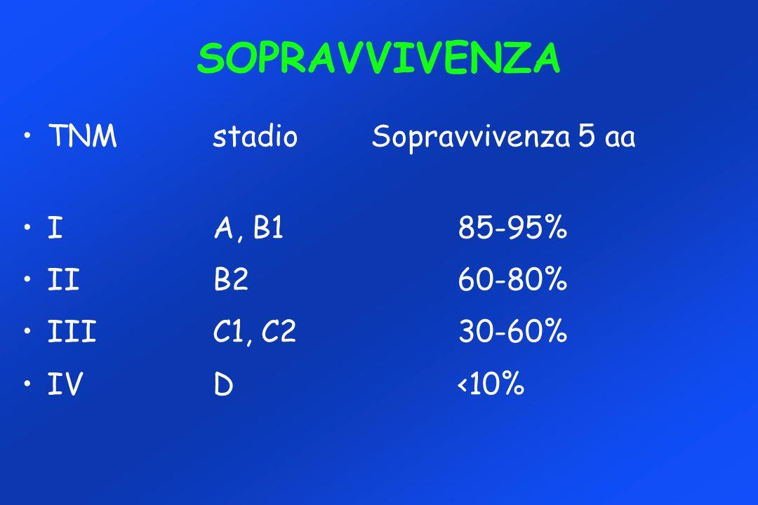 SOPRAVVIVENZA TNMstadio Sopravvivenza 5 aa IA, B185-95% IIB260-80% IIIC1, C230-60% IVD<10%