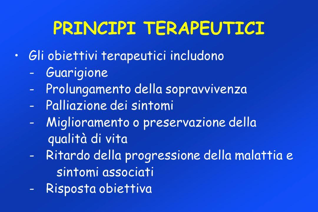PRINCIPI TERAPEUTICI Gli obiettivi terapeutici includono - Guarigione - Prolungamento della sopravvivenza - Palliazione dei sintomi - Miglioramento o