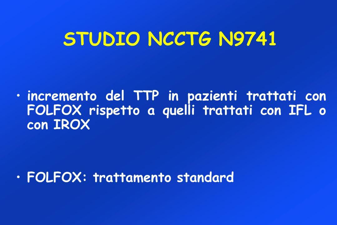 STUDIO NCCTG N9741 incremento del TTP in pazienti trattati con FOLFOX rispetto a quelli trattati con IFL o con IROX FOLFOX: trattamento standard