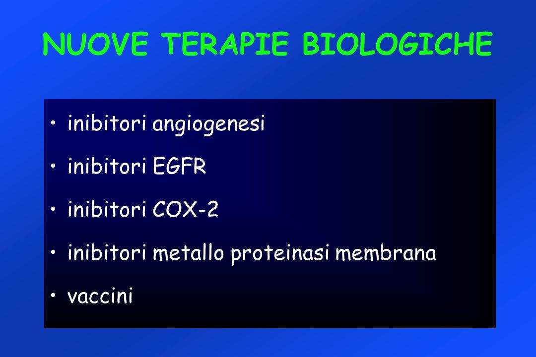 NUOVE TERAPIE BIOLOGICHE inibitori angiogenesi inibitori EGFR inibitori COX-2 inibitori metallo proteinasi membrana vaccini