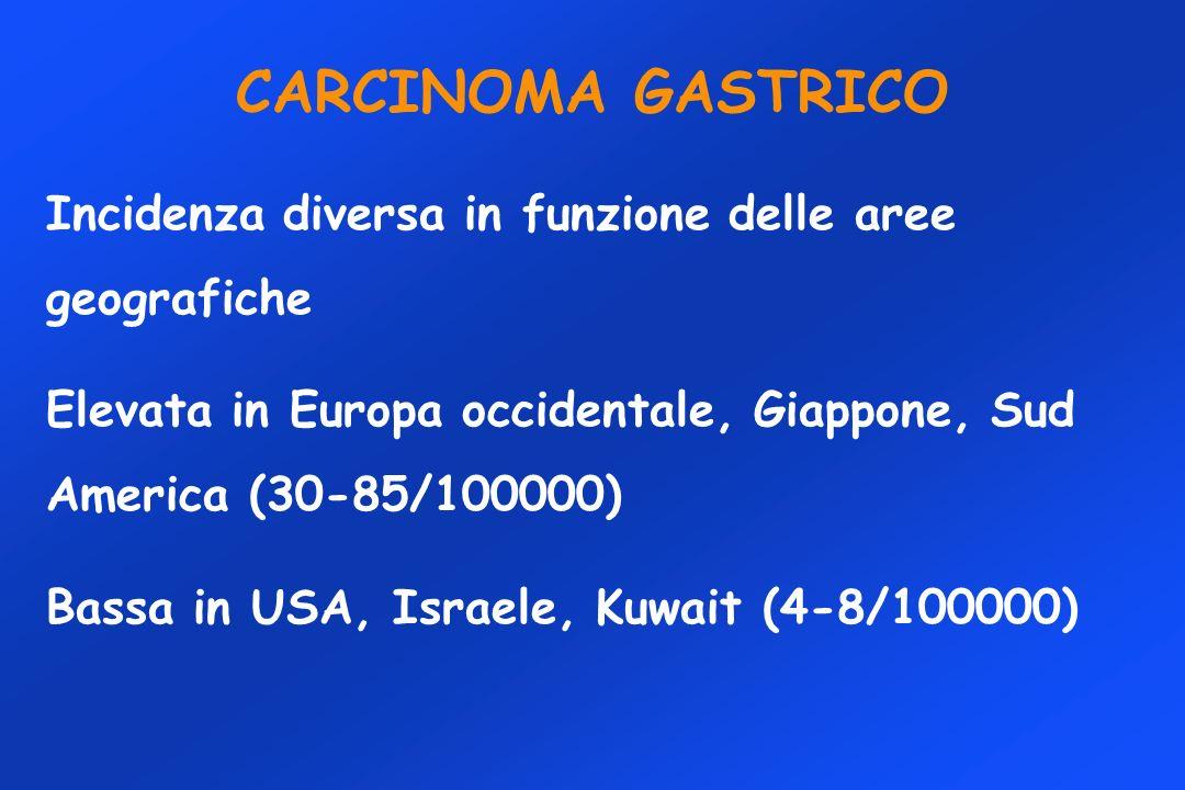 CARCINOMA GASTRICO Incidenza diversa in funzione delle aree geografiche Elevata in Europa occidentale, Giappone, Sud America (30-85/100000) Bassa in U