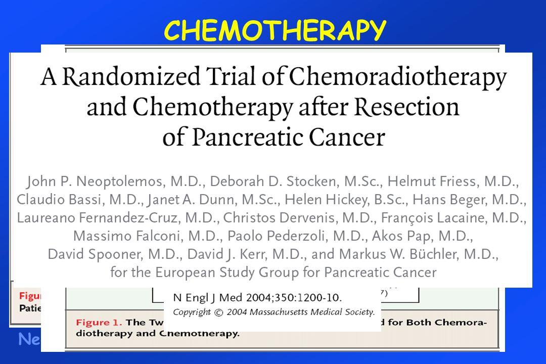 CHEMOTHERAPY Neoptolemos NEJM 2004 Survival2-year5-year No CHEMO:30%8% CHEMO:40%21% HR=0.71 (0.55, 0.92), p=0.009 5FU 425 mg/m 2 LV 20 mg/m 2 x 5d every 4 w