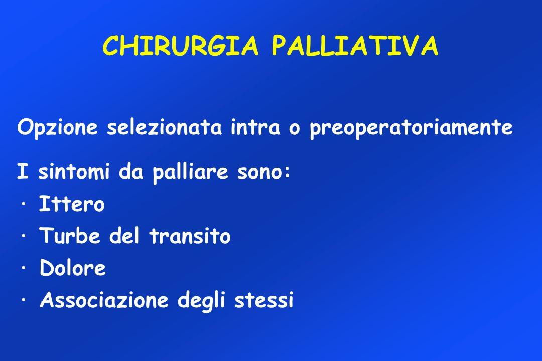 CHIRURGIA PALLIATIVA Opzione selezionata intra o preoperatoriamente I sintomi da palliare sono: · Ittero · Turbe del transito · Dolore · Associazione degli stessi