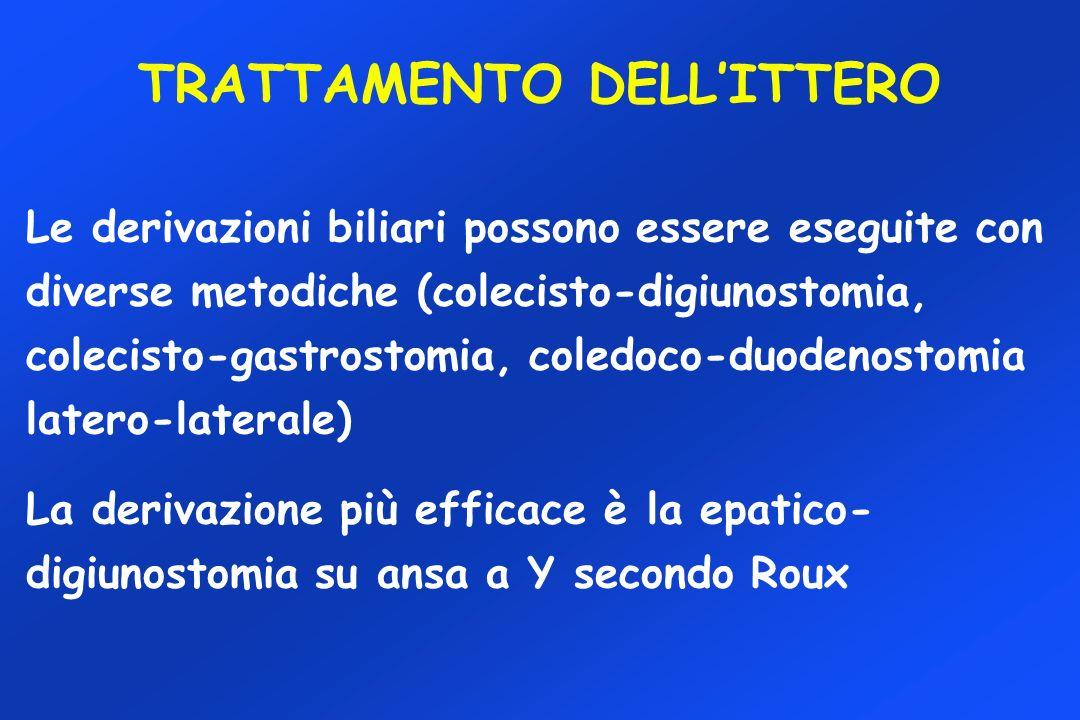 Le derivazioni biliari possono essere eseguite con diverse metodiche (colecisto-digiunostomia, colecisto-gastrostomia, coledoco-duodenostomia latero-laterale) La derivazione più efficace è la epatico- digiunostomia su ansa a Y secondo Roux