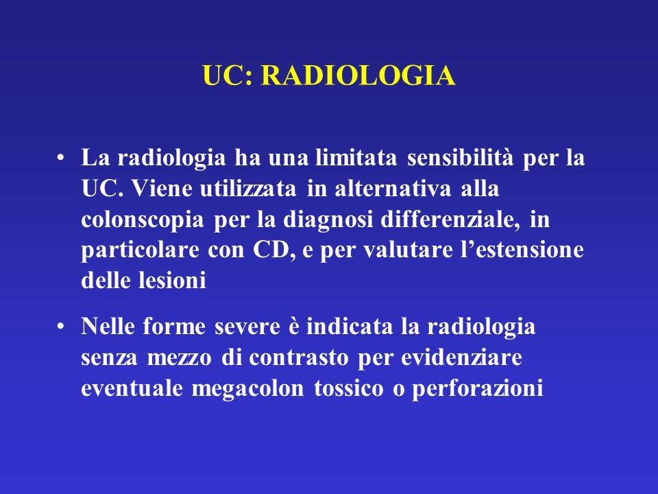 UC: RADIOLOGIA La radiologia ha una limitata sensibilità per la UC. Viene utilizzata in alternativa alla colonscopia per la diagnosi differenziale, in