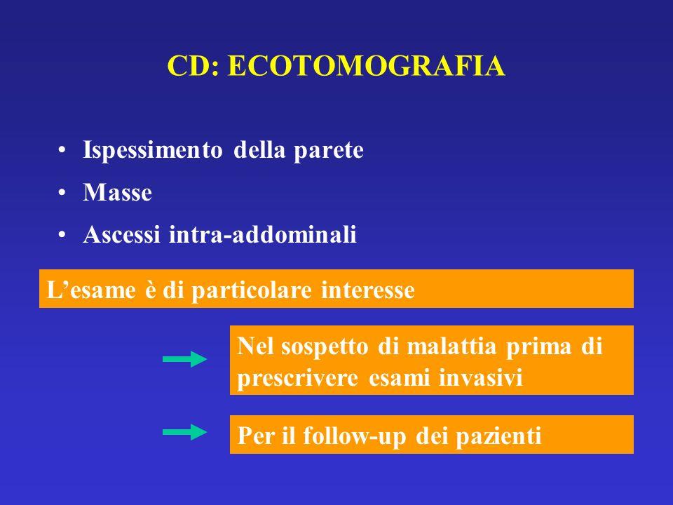 CD: ECOTOMOGRAFIA Ispessimento della parete Masse Ascessi intra-addominali Lesame è di particolare interesse Nel sospetto di malattia prima di prescri