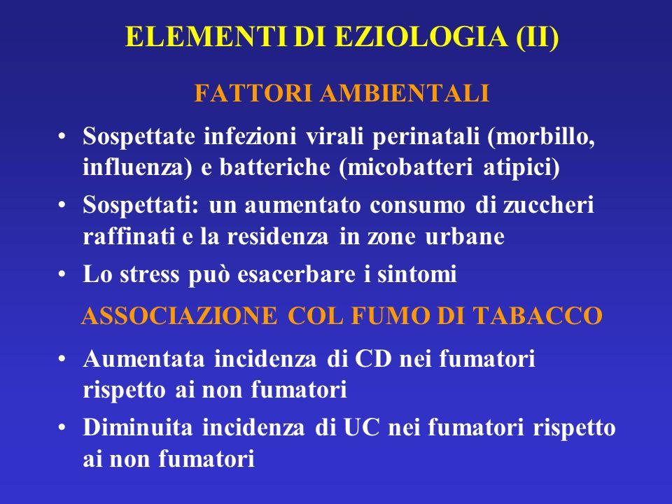 ELEMENTI DI EZIOLOGIA (II) FATTORI AMBIENTALI Sospettate infezioni virali perinatali (morbillo, influenza) e batteriche (micobatteri atipici) Sospetta