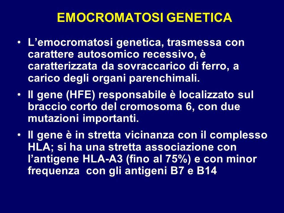 EMOCROMATOSI GENETICA Lemocromatosi genetica, trasmessa con carattere autosomico recessivo, è caratterizzata da sovraccarico di ferro, a carico degli