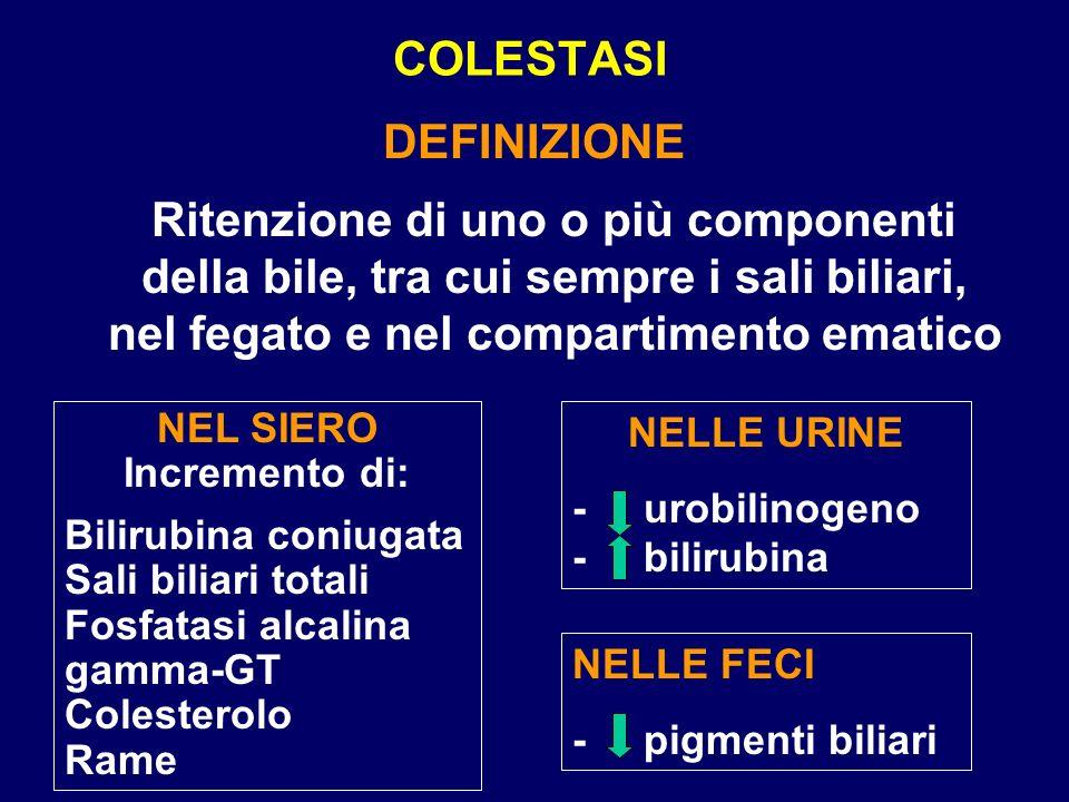 COLESTASI DEFINIZIONE Ritenzione di uno o più componenti della bile, tra cui sempre i sali biliari, nel fegato e nel compartimento ematico NEL SIERO I
