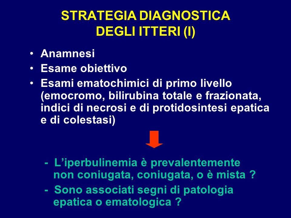STRATEGIA DIAGNOSTICA DEGLI ITTERI (I) Anamnesi Esame obiettivo Esami ematochimici di primo livello (emocromo, bilirubina totale e frazionata, indici