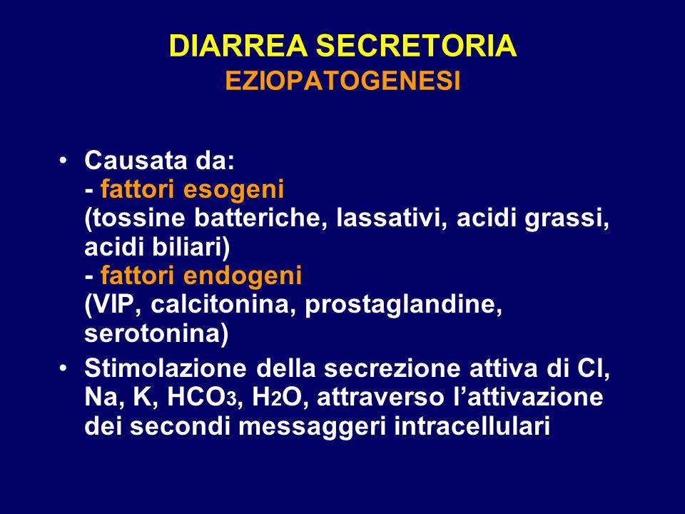DIARREA SECRETORIA EZIOPATOGENESI Causata da: - fattori esogeni (tossine batteriche, lassativi, acidi grassi, acidi biliari) - fattori endogeni (VIP, calcitonina, prostaglandine, serotonina) Stimolazione della secrezione attiva di Cl, Na, K, HCO 3, H 2 O, attraverso lattivazione dei secondi messaggeri intracellulari