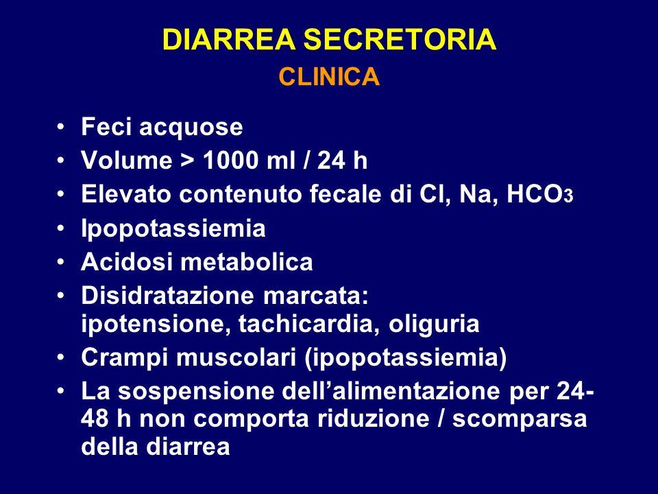 DIARREA SECRETORIA CLINICA Feci acquose Volume > 1000 ml / 24 h Elevato contenuto fecale di Cl, Na, HCO 3 Ipopotassiemia Acidosi metabolica Disidratazione marcata: ipotensione, tachicardia, oliguria Crampi muscolari (ipopotassiemia) La sospensione dellalimentazione per 24- 48 h non comporta riduzione / scomparsa della diarrea