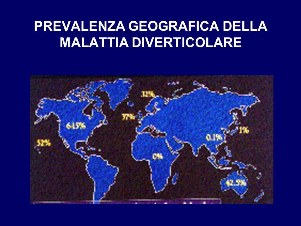 PREVALENZA GEOGRAFICA DELLA MALATTIA DIVERTICOLARE