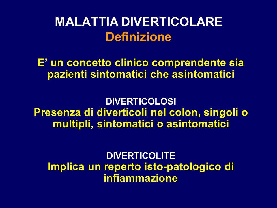 MALATTIA DIVERTICOLARE Definizione E un concetto clinico comprendente sia pazienti sintomatici che asintomatici DIVERTICOLOSI Presenza di diverticoli