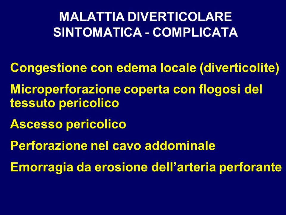 MALATTIA DIVERTICOLARE SINTOMATICA - COMPLICATA Congestione con edema locale (diverticolite) Microperforazione coperta con flogosi del tessuto pericol