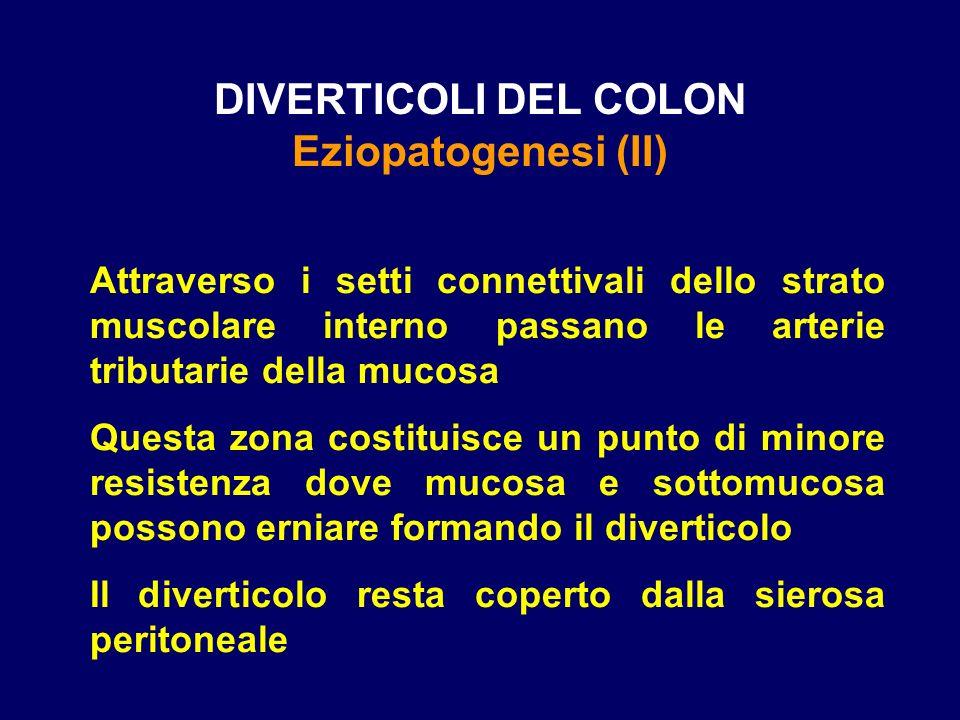 DIVERTICOLI DEL COLON Eziopatogenesi (II) Attraverso i setti connettivali dello strato muscolare interno passano le arterie tributarie della mucosa Qu